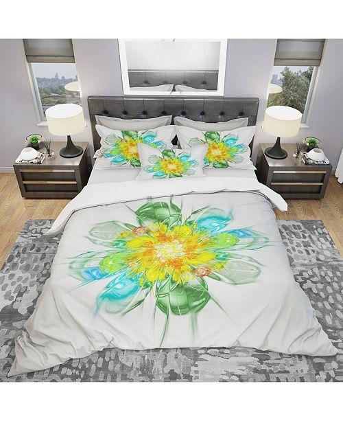 Design Art Designart 'Yellow Blue Glowing Fractal Flower' Modern and Contemporary Duvet Cover Set - Queen