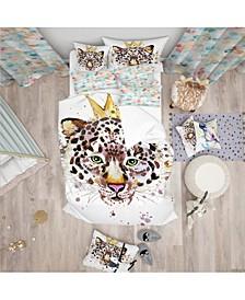 Designart 'Leopard Head With Golden Crown' Tropical Duvet Cover Set - Twin