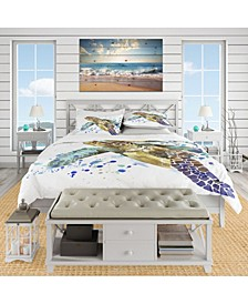 Designart 'Blue Sea Turtle Illustration' Nautical and Coastal Duvet Cover Set - Twin