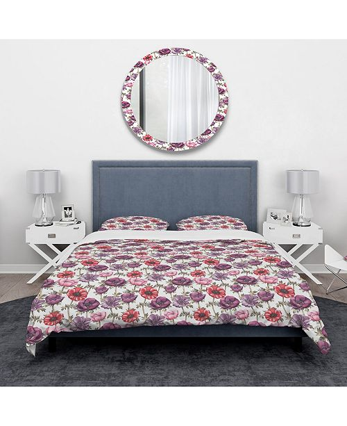 Design Art Designart 'Colorful Abstract Floral Pattern' Traditional Duvet Cover Set - Queen