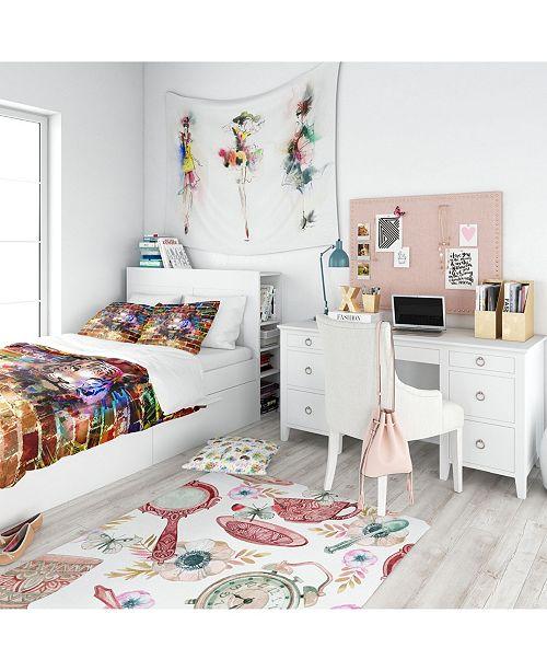 Design Art Designart 'Tiger Over Abstract Brick Design' Modern Teen Duvet Cover Set - Queen