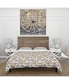Designart 'Pattern With Flowers And Birds' Cabin and Lodge Duvet Cover Set - King