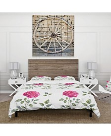 Designart 'Beautiful Red Rose' Cabin and Lodge Duvet Cover Set - Queen