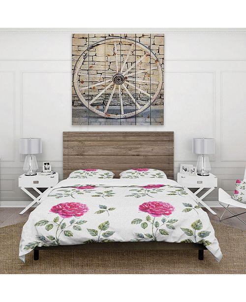 Design Art Designart 'Beautiful Red Rose' Cabin and Lodge Duvet Cover Set - Queen