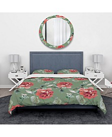 Designart 'Red Flowers In Green Background' Traditional Duvet Cover Set - Twin