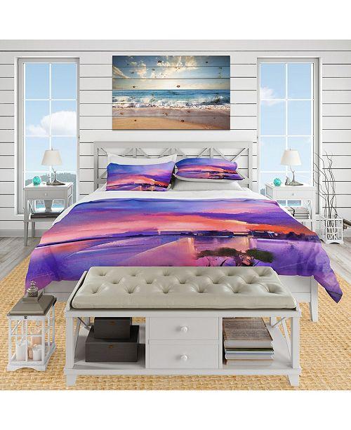 Design Art Designart 'Orange and Purple Sky In Twilight Sunset' Beach Duvet Cover Set - Queen