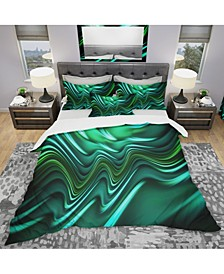 Designart 'Emerald Energy Green Abstract' Modern and Contemporary Duvet Cover Set - Twin