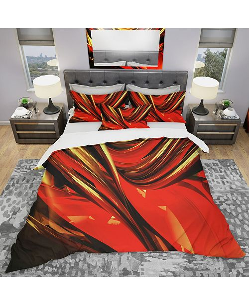 Design Art Designart 'Red Lava Ribbons' Modern and Contemporary Duvet Cover Set - Twin