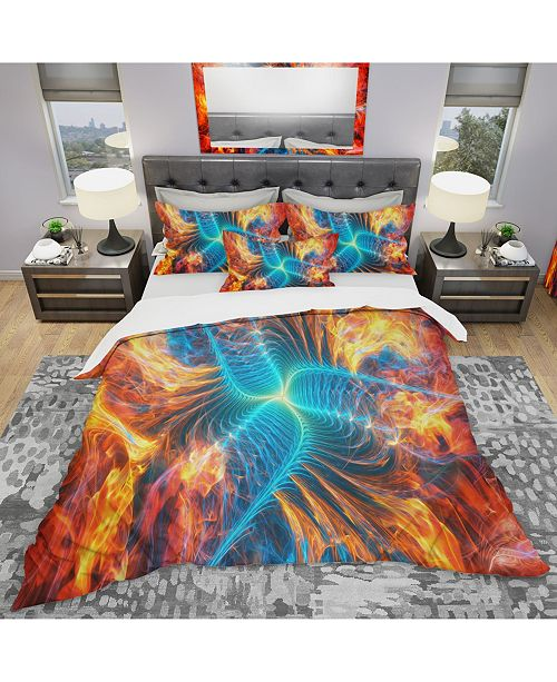 Design Art Designart 'Electric Fire' Modern and Contemporary Duvet Cover Set - Twin
