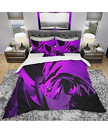 Designart 'Purple And Grey Mixer' Modern and Contemporary Duvet Cover Set - King