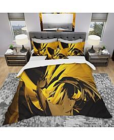 Designart 'Yellow And Grey Mixer' Modern and Contemporary Duvet Cover Set - King