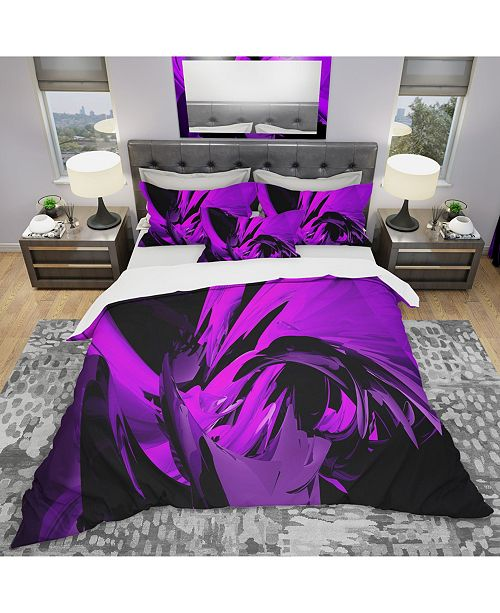 Design Art Designart 'Purple And Grey Mixer' Modern and Contemporary Duvet Cover Set - Twin