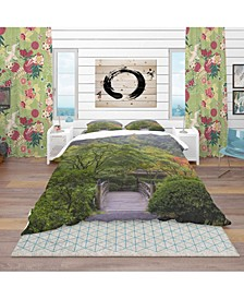 Designart 'Foggy Dawn In Japanese Garden' Bohemian and Eclectic Duvet Cover Set - King
