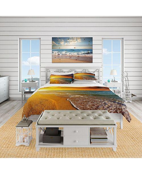 Design Art Designart 'Fantastic Yellow Sky In Blue Beach' Coastal Duvet Cover Set - King