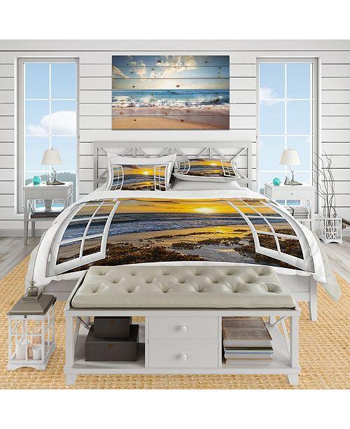 Design Art Designart 'Open Window To Bright Yellow Sunset' Coastal Duvet Cover Set - Queen