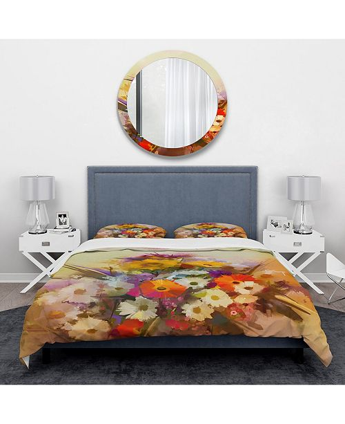Design Art Designart 'Hand Painted Bouquet Of Flowers' Traditional Duvet Cover Set - Queen