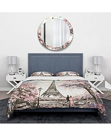 Designart 'Eiffel With Pink Flowers' Global Inspired Duvet Cover Set - Twin