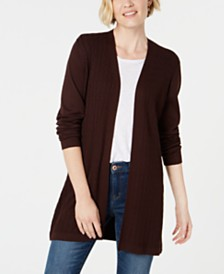 Karen Scott Cotton Long Open-Front Cardigan, Created for Macy's