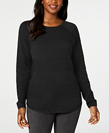 Cotton Textured Curved-Hem Sweater, Created for Macy's