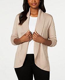Karen Scott Petite Curved-Hem Shawl Cardigan Sweater, Created for Macy's