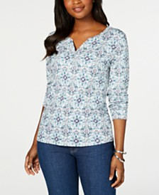 Karen Scott 3/4-Sleeve Printed Henley, Created for Macy's