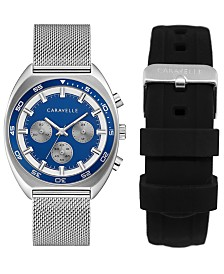 Caravelle Designed by Bulova Men's Chronograph Stainless Steel Mesh Bracelet Watch 40mm Box Set