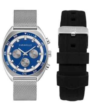 Designed by Bulova Men's Chronograph Stainless Steel Mesh Bracelet Watch 40mm Box Set