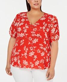Calvin Klein Plus Size Floral-Print V-Neck Blouse
