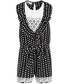 Little Girls Dot-Print Crepe & Lace Romper