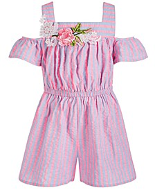 Little Girls Striped Chambray Cold-Shoulder Romper