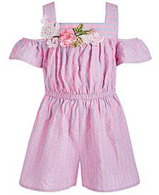 Bonnie Jean Little Girls Striped Chambray Cold-Shoulder Romper