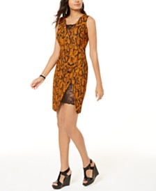Thalia Sodi Lace-Inset Snake-Print Sheath Dress, Created for Macy's