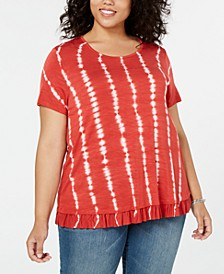 Plus Size Tie-Dyed Ruffle-Hem Top, Created for Macy's