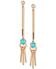 GUESS Gold-Tone Crystal & Stone Linear Drop Earrings