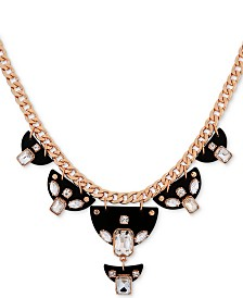 "GUESS Gold-Tone Crystal & Lucite Statement Necklace, 16"" + 2"" extender"