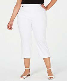 Plus Size Pull-On Zipper-Hem Capri Pants, Created for Macy's