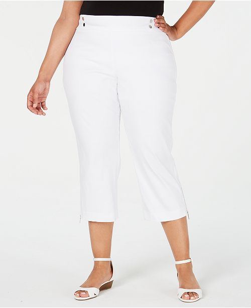 JM Collection Plus Size Pull-On Zipper-Hem Capri Pants, Created for Macy's