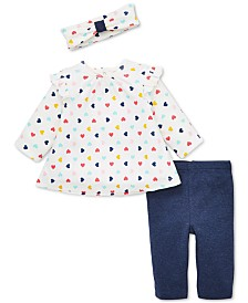 Little Me Baby Girls 3-Pc. Heart-Print Headband, Tunic & Leggings Cotton Set