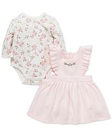 Baby Girls 2-Pc. Cotton Floral-Print Bodysuit & Jumper Set