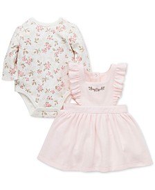 Little Me Baby Girls 2-Pc. Cotton Floral-Print Bodysuit & Jumper Set