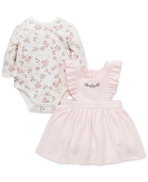 Little Me Baby Girls 2-Pc. Cotton Floral-Print Bodysuit & Jumper Set