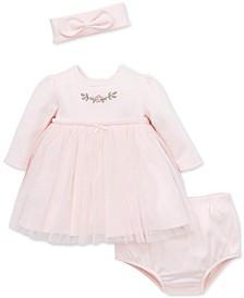 Baby Girls 2-Pc. Tulle Overlay Dress & Headband Set