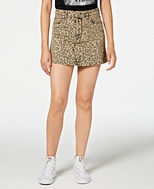 Emily Cheetah-Print Denim Mini Skirt