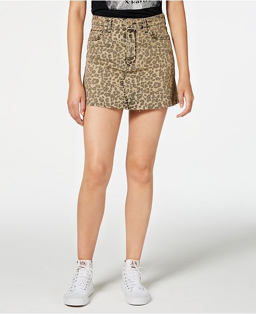 STS Blue Emily Cheetah-Print Denim Mini Skirt