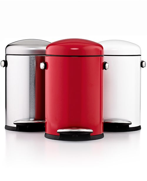 simplehuman Bath Accessories, Mini Round Retro Step Trash Can