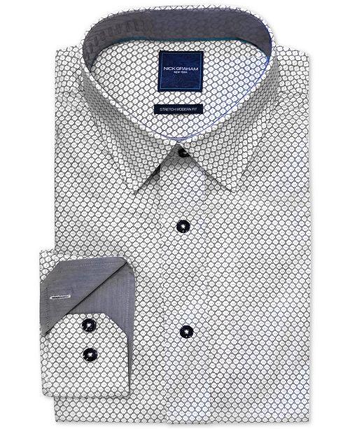 Nick Graham Men's Modern-Fit Stretch Geo-Print Dress Shirt