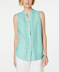 Charter Club Lace Linen Blouse, Created for Macy's