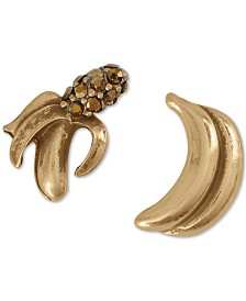 Lucky Brand Gold-Tone Pavé Banana Mismatch Stud Earrings