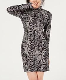 Rosie Harlow Juniors' Mock-Neck Python-Print Dress, Created for Macy's