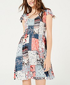 Juniors' Smocked Patchwork-Print Dress, Created for Macy's